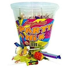 Swizzels Party Mix Tub each Includes an assorted mixture of the most famous Swizzels Matlow sweets fizzers drumstick lollies double lollies parma