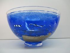 Kosta Boda Bertil Vallien signed Blue Satellite Art Glass Bowl 69252