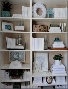 This homeowner covered all her books in white paper and then wrote the titles in ink to find a particular book.