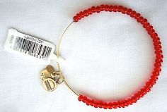Alex Ani Bright RED Color Beaded with Russian Gold EWB Bracelet NEW w/ Tag - http://designerjewelrygalleria.com/alex-ani/alex-ani-bright-red-color-beaded-with-russian-gold-ewb-bracelet-new-w-tag/