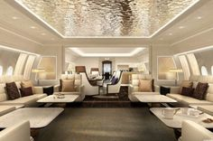 """Boeing unveils its newest line of business jets. The company says the BBJ jet will let VIP travelers to fly nonstop between """"any two cities on Earth. Jets Privés De Luxe, Luxury Jets, Luxury Private Jets, Private Plane, Interior Concept, Interior Design, Design Room, Wall Design, Casa Magna"""