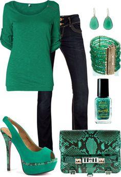 """""""~Green Snakeskin Bag~"""" by mels777 on Polyvore"""
