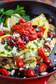 You're probably familiar with the most popular Mediterranean diet foods: olive oil, salmon, red wine. But what about a Mediterranean-style breakfast? Look no further than these Mediterranean diet breakfast recipes. Mediterranean Omelette Recipe, Mediterranean Diet Breakfast, Mediterranean Dishes, Mediterranean Diet Recipes, Mediterranean Style, Clean Eating, Healthy Eating, Brunch Recipes, Breakfast Recipes
