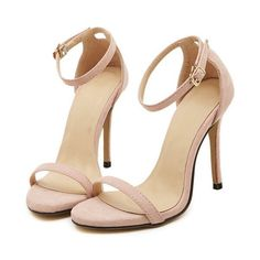 Nude Stiletto High Heel Ankle Strap Sandals (439.770 IDR) ❤ liked on Polyvore featuring shoes, sandals, heels, sapatos, high heels, nude, ankle tie sandals, high heel sandals, heeled sandals and nude shoes