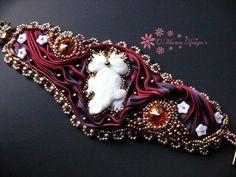 Bead embroidered cuff bracelet Hot Lava Shibori silk ribbon Carved bone cabochon Beadwork seed beaded jewelry