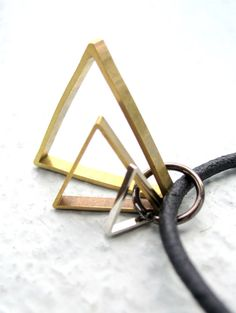 Men's Leather Necklace w/ Triangle Pendant