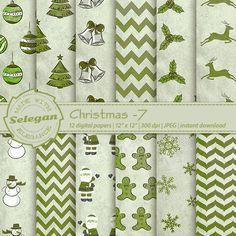 """Christmas Scrapbooking """" Christmas -7 """" Digital Scrapbooki Paper, 12x12, Printable, Pattern, Santa, Snowman, Xmas Tree, Deer, Background by Selegan on Etsy"""