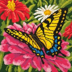 Dimensions Butterfly and Zinnias - Needlepoint Kit. This bold needlepoint design conveys a lovely nature scene. Whether finished as a pillow or framed, Butterfl Hand Embroidery Designs, Embroidery Kits, Cross Stitch Embroidery, Butterfly Frame, Butterfly Crafts, Needlepoint Designs, Needlepoint Kits, Cross Stitch Kits, Cross Stitch Patterns