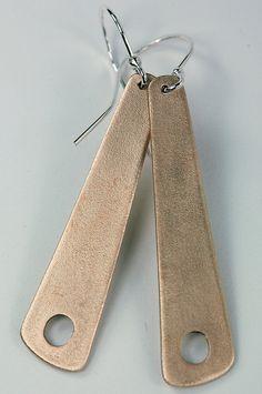 Sharp bronze metal clay earrings.