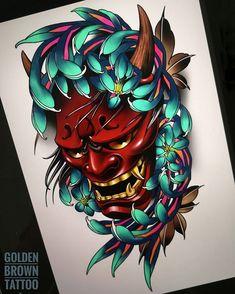 Projet cliente / Design for client ☺️ Japanese Mask Tattoo, Japanese Flower Tattoo, Japanese Tattoo Designs, Japanese Sleeve Tattoos, Japan Tattoo Design, Sketch Tattoo Design, Tattoo On, Tattoo Drawings, Hannya Mask Tattoo