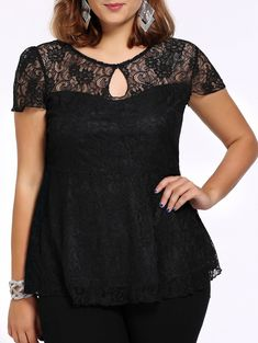 654cc14d41d0 Alluring Plus Size Keyhole Neck Flounced Lace Blouse For Women