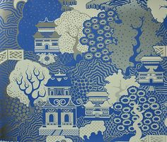 Summer Palace Wallpaper Chinese scenic wallpaper in cream, blue and gold, it is reminiscent of willow pattern porcelain.