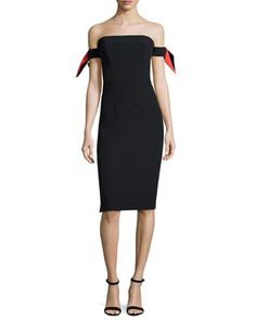 Strapless+Bow-Sleeve+Italian+Cady+Midi+Dress+by+Milly+at+Neiman+Marcus.