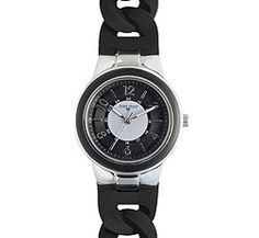 """Nurse Mates Chrome Silicone Link Watch. This is a stylish, easy read dial with regular and military time. 1 3/8"""" case size with unique and comfortable braided silicone strap. Shock and water resistant construction. Battery SR626SW included. Fits wrist sizes approximately 5 ½"""" - 7 ½""""."""