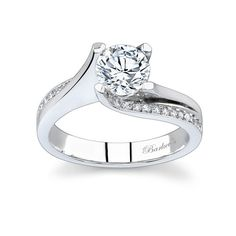Diamond Engagement Ring - 7171LW - Modern in design yet timeless in style, this diamond engagement ring evolves around the center stone. The prongs rise out of the band swooping up on the sides, enhanced with pave-set diamonds, with mil-grain detailing for a sophisticated aura.  Also available in 18k and Platinum