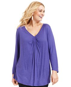 DKNY Jeans Plus Size Top, Long-Sleeve Ruched - Plus Size Tops - Plus Sizes - Macy's
