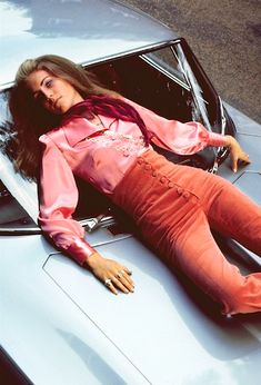 The pants are pretty rad, but it's too bad this girl has fallen to her death from her fabulous penthouse while wearing them. Photo by Patrick Lichfield for Vogue, 1969