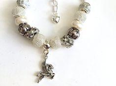 European Style Charm Bracelet With Pegasus Charm #europeancharmbracelet #pegasuscharm #handmadejewellery #prandski