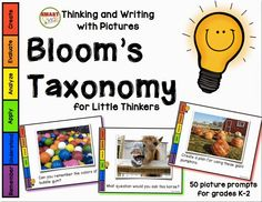 Thinking and Writing with Pictures: Bloom's Taxonomy for Little Learners. 50 photos and writing prompts. Each prompt is tagged to indicate the level of thinking it encourages—beginning with remembering and going all the way to creating. Critical Thinking Activities, Higher Order Thinking, Blooms Taxonomy, Marzano, Thing 1, Little Learners, Thinking Skills, Guided Reading, Reading Comprehension