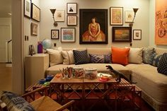 Love the wall-to-wall couch!! Great design for small room!