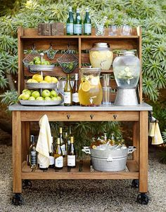 Wedding Registry Advice From Pottery Barn backyard food and drink station ideas from Pottery Barn Buffet Hutch, Food Buffet, Buffet Tables, Dining Tables, Decoration Originale, Tiered Stand, Bar Drinks, Drink Bar, Drinks Trolley