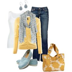 Yellow and blue outfit.