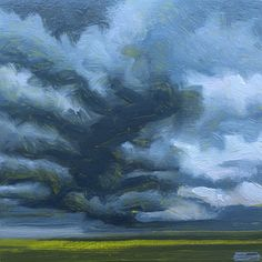"""New Green"" by Jerry Moon  Fine Art-Oil-Landscape-Painting-Flint Hills, Kansas-Midwest-Sky-Cloud-Blue-Grey-Storm-Loose"