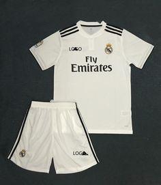 d4612ae5e01 2018/19 Kids Real Madrid Home White With Brand Logo Soccer Kits Children Football  Uniform
