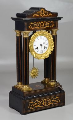 Inlaid ebonized French portico clock, brass capitals and bases on columns, enameled dial with chipping around wind ho. on Nov 2015 Large Vintage Wall Clocks, Large Clock, Antique Clocks, Louis Xvi, French Clock, Classic Clocks, Retro Clock, Wall Clock Online, Wooden Clock