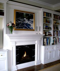 fireplace mantle and surround with cabinets shelves fireplaces in rh pinterest com
