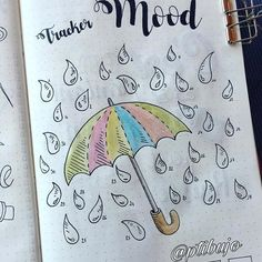 #mood #tracker #rainshowers #bujo #bulletjournal #journal #page by @ptibujo