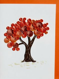 Fall Tree quilled greeting card