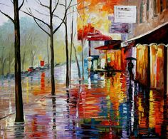 """""""November in Paris"""" by Leonid Afremov ___________________________ Click on the image to buy this painting ___________________________ #art #painting #afremov #wallart #walldecor #fineart #beautiful #homedecor #design"""