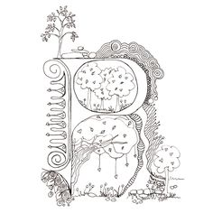 Monogram, Initial, Colour-Me-In Illuminated Letters - P, original art  drawings by melanie j cook. $5.00, via Etsy.