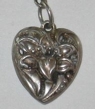 Sterling Silver Puffy Heart Charm ~ Repousse Lily Flower