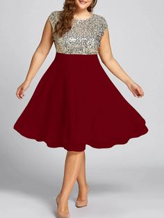 Plus Size Sequin Sparkly Cocktail Dress - WINE RED Plus Size afflink