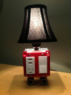 Table or Desk lamp with USB charging station by BossLamps on Etsy, $95.00