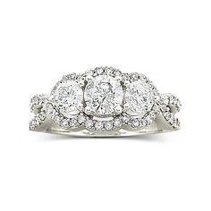 t w 3 stone diamond ring 14k white gold wedding ring - Jcpenney Rings Weddings