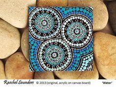 Aboriginal Art, Water Art, small acrylic painting on canvas board, blue decor, 10cm x 10cm
