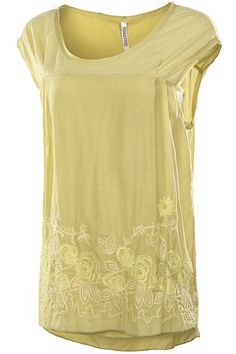 Gorgeous Kiwi Yellow Silk Floral Embroidered Blouse, Floral Embroidered Lightweight Top..  ALL SIZES AVAIL