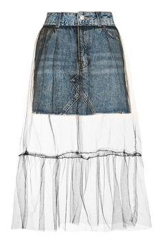 MOTO Tulle Overlay Denim Skirt - New In This Week - New In - Topshop Europe