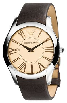 Emporio Armani  Round Case Leather Strap Watch available at #Nordstrom