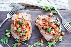 Homemade chana masala makes baked sweet potatoes into a satisfying, healthy dinner.