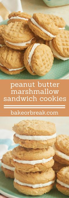 Traditional peanut butter cookies meet sweet marshmallow frosting in these irresistible Peanut Butter Marshmallow Sandwich Cookies! - Bake or Break ~ http://www.bakeorbreak.com