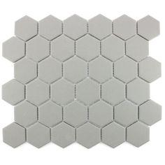 Full Body Hexagon Matt Light Grey Mosaic 32.5cm x 28.1cm Wall & Floor Tile
