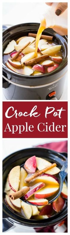 This Crock Pot Apple Cider will make entertaining a breeze this holiday season! Seasoned with cinnamon, apples, and ginger, this cider can simmer in the crock all night long! Keep the spiced rum on the side so guests have a boozy and non-alcoholic option! via @sugarandsoulco