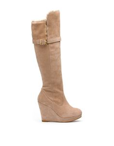 knee high beige wedge BOOT - shoes - BOOTS