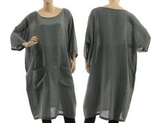 Oversized tunic dress linen mix in grey grey summer tunic