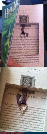 A proposal in a book. And not just any book, it's Harry Potter. How could anyone say no?! :)