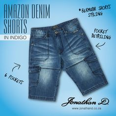 Introducing the first in an exciting line of summer apparel. Meet Jonathan D's all-utility-all-bermuda offering, the Amazon Denim Shorts. Made from a durable yet comfortable cotton fabrication, these 6 pocketed shorts have panelled detailing and a branded, metal fly front button. Short Styles, Front Button, Summer 2014, Indigo, Bermuda Shorts, Denim Shorts, Summer Outfits, Meet, Amazon